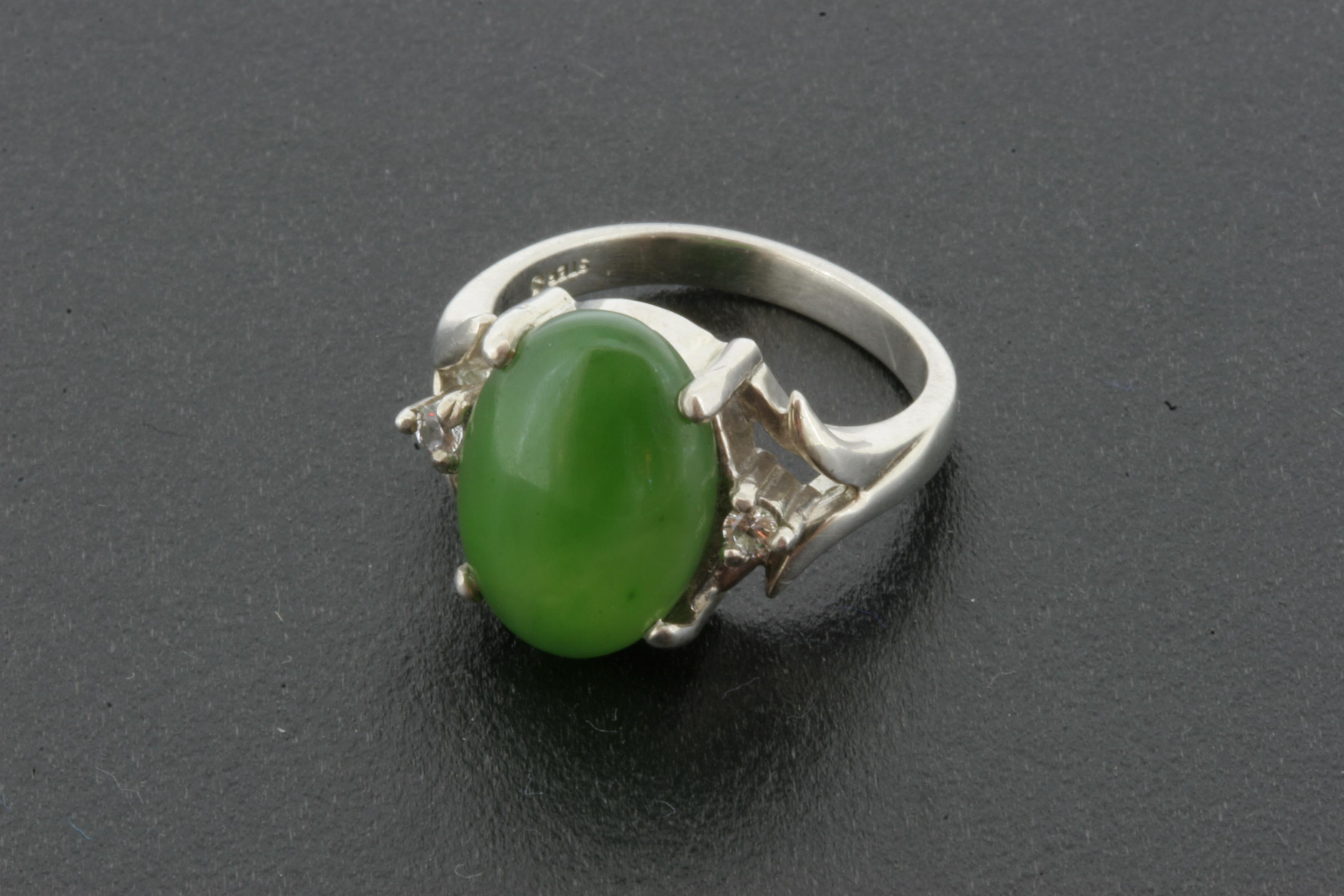 jade ring in sterling silver 757 jade carver